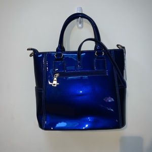 Handbags - Patent Leather Blue Handbag